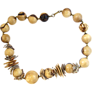 Miriam Haskell Wood and Shell Choker Necklace