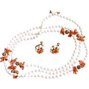 Signed Haskell Faux Coral Bead Necklace and Earring Set