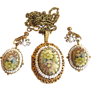 Vintage Miriam Haskell Painted Flower Pendant Locket Necklace and Clip Earrings
