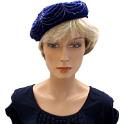 Ellen Jane Sparkly Navy Blue Velour Beret Hat
