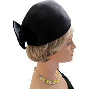 Vintage Schiaparelli Black Brushed Felt Ha