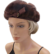 Vintage Schiaparelli Brown Fur Hat