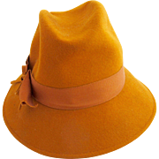 Vintage Glenover Henry Pollack Gold Wool Felt Hat