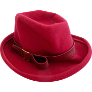 Vintage Glenover Henry Pollack Raspberry Wool Felt Hat - with Original Tag