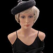 Vintage Hattie Carnegie Persian Wool Style Black Beret Hat