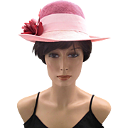 Vintage Mr. Charles Pink and Raspberry Flowered Straw Hat