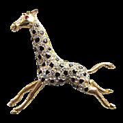 Vintage Signed Hattie CARNEGIE Clear Rhinestone Giraffe Figural Pin