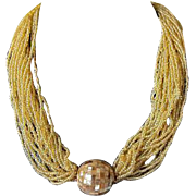 Vintage Signed Hobe Seed Bead and MOP Disco Ball Necklace