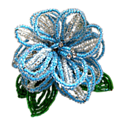 Hobe Light Blue and Green Seed Bead Flower Brooch