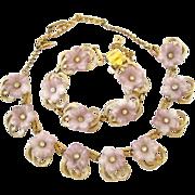Hobe Pale Lavender Flower Necklace and Bracelet Parure