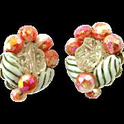 Vintage Hobe Pink Bead Clip Earrings