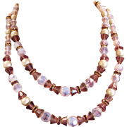Hobe Amethyst Glass Bead Necklace and Earring Set