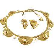 Hobe Gold Tone Mesh Necklace and Earring Set