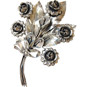 1940's Era Huge Sterling Silver Flower Brooch