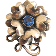 Vintage Hobe Sterling Flower Pin with Blue Rhinestone