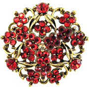 Vintage Hollycraft Red Rhinestone Brooch