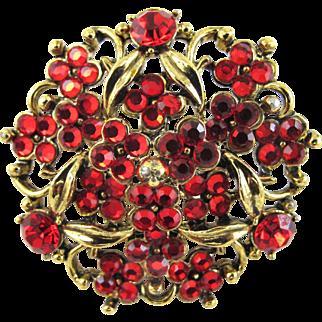 Vintage Hollycraft Red Rhinestone Brooch