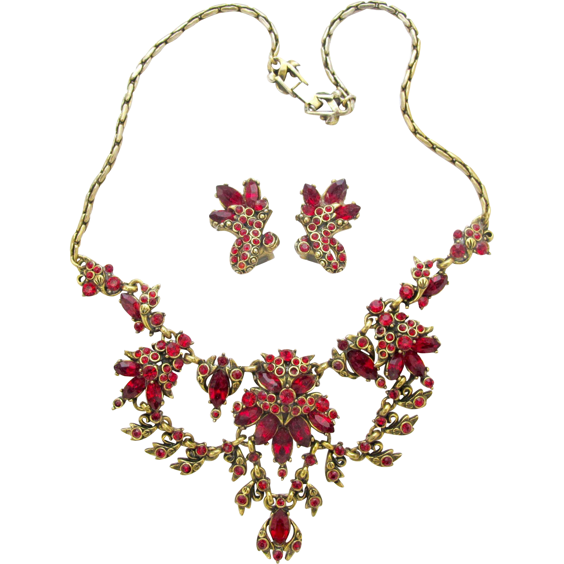 Hollycraft 1952 Red Rhinestone Necklace Earrings Set 2hearts Jewelry Accessories Ruby Lane