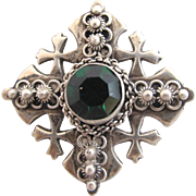 Vintage Jerusalem Four Cross Pin / Pendant 800 Silver - Made in Bethlehem