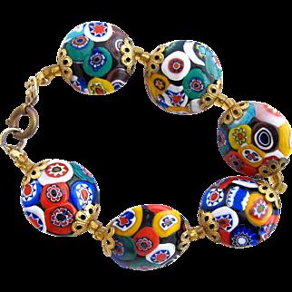 Vintage Italian Millefiori Oval Bead Bracelet