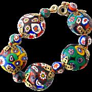 Italian Millefiori Oval Bead Bracelet