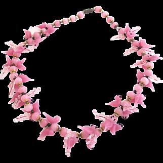 Vintage Italian Pink Glass Bird Necklace