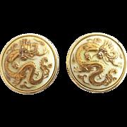 Vintage Toshikane Japan Dragon Cuff Links
