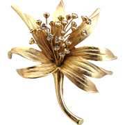 Vintage Judy Lee Flower Brooch in Gold Tone Metal