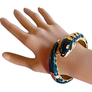 Joan Rivers Snake Clamper Bracelet in Midnight Blue