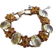 Vintage Delizza & Elster Large Yellow Oval Rhinestone Bracelet - Book Piece