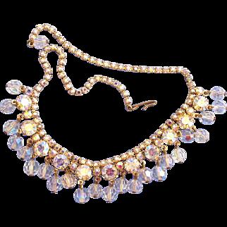 Vintage Aurora Borealis Rhinestone and Crystal Drop Choker Necklace