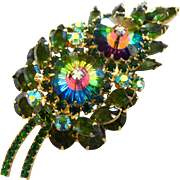 Vintage Delizza & Elster (AKA: Juliana) Green Margarita Leaf Rhinestone Brooch - Book Piece