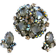 DeLizza and Elster (AKA: Juliana; D & E) Smokey Gray Rhinestone Brooch and Earring Set - Book Piece