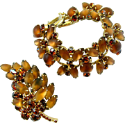 DeLizza & Elster (AKA:  Juliana) Frosted Brown Bracelet and Brooch Set - Book Piece