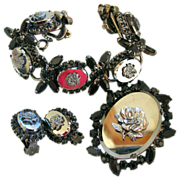 Delizza and Elster Cameo Rose Bracelet, Brooch and Earring Set - Book Set