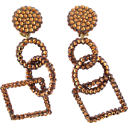 Richard Kerr Bronze Rhinestone Dangle Earrings