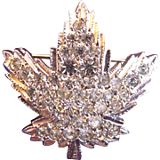 Vintage Keyes Clear Rhinestone Maple Leaf Pin