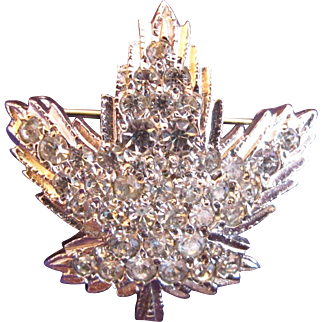 Vintage Keyes Clear Rhinestone Leaf Pin