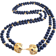KJL for Avon (Kenneth Lane) Sophisticated Lady Blue Ram's Head Necklace