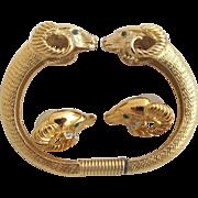 """K.J.L. For Avon (Kenneth Lane) Ram's Head """"Sophisticated Lady"""" Clamper Bracelet and Pierced Earrings"""