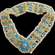 Vintage KJL Bejeweled Faux Turquoise Gold Tone Wide Belt – Medium