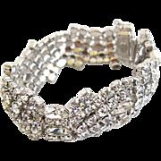 Vintage KRAMER of NY Wide Clear Rhinestone Curvy Bracelet