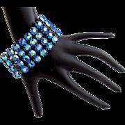 Vintage Kramer Electric Blue Aurora Borealis Rhinestone Bracelet
