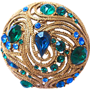 La Roco Blue Green Domed Brooch - Book Piece
