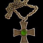 Vintage La Roco Brass Tones Cross Pendant Necklace