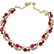 Lisner Red Rhinestone Choker Necklace
