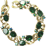 Vintage Lisner Green Rhinestone Bracelet