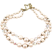 Lisner Faux Pale Cream and Blush Pearl Necklace
