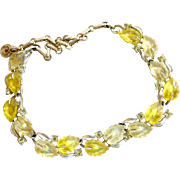 Vintage Lisner Yellow Lucite Leaf Choker Necklace