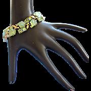 Vintage Lisner Iridescent Green Glass Leaves Bracelet